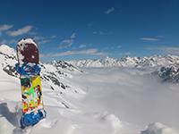 Herbstskilauf am Gletscher in Sölden